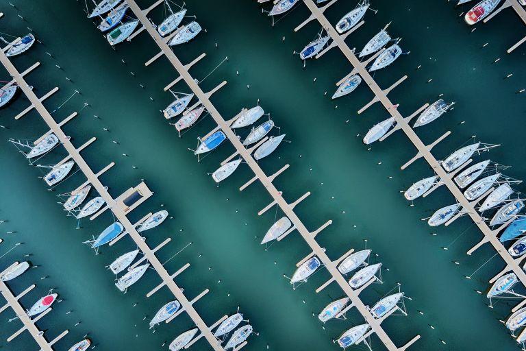 Drone top-down of the boats in Muiderzand marina