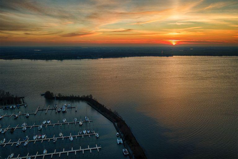 Drone sunset over Muiderzand marina