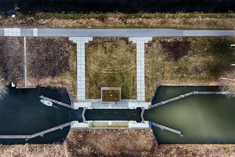 Top-down drone picture of a small lock