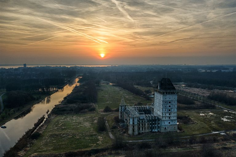 Sunset from my drone at Almere Castle