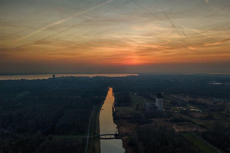 Orange sky after sunset