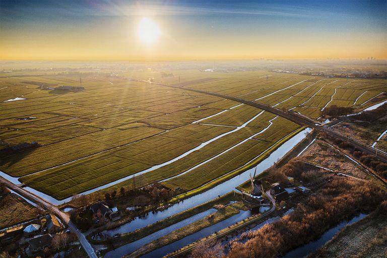 Flat Dutch landscape near Weesp