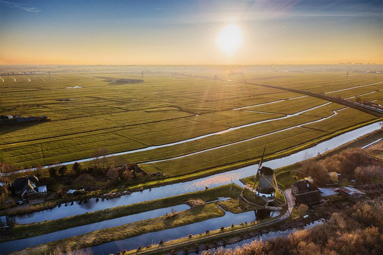 Sunset picture of fields near Weesp