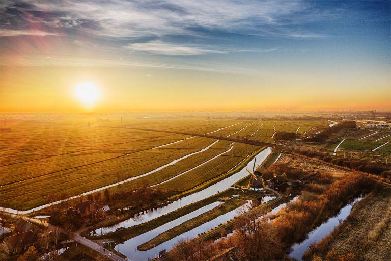 Drone sunset over Meermolen de Onrust