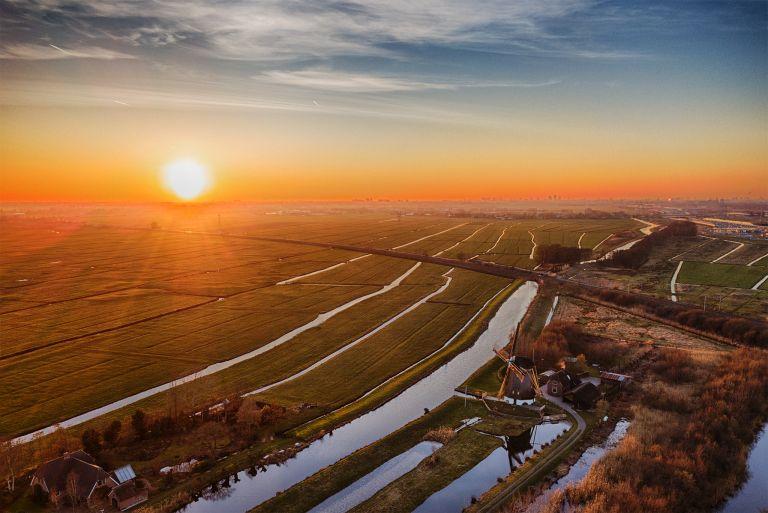 Drone sunset picture of windmill Meermolen de Onrust