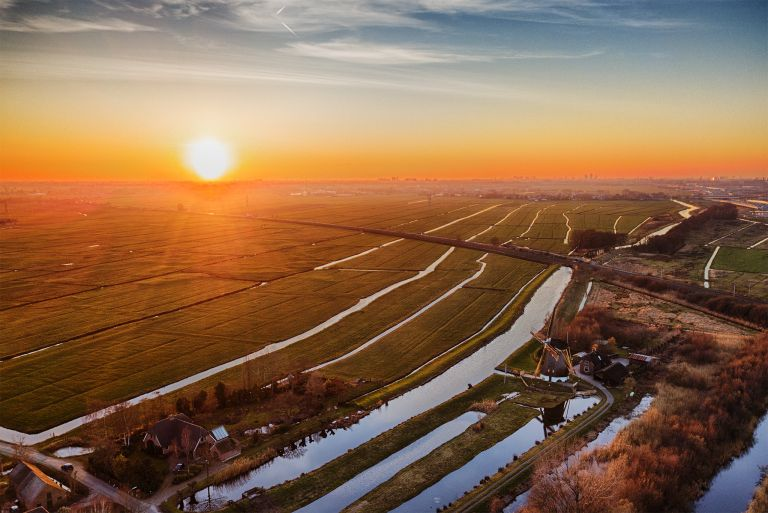 Typical Dutch sunset landscape from my drone