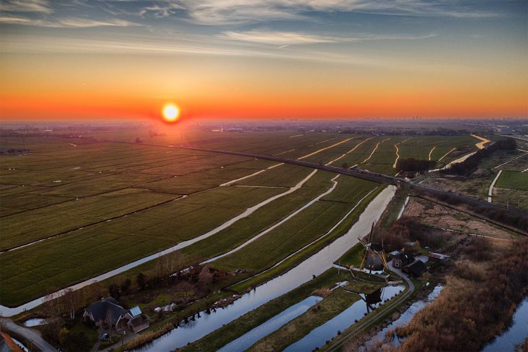 Drone sunset over windmill Meermolen de Onrust
