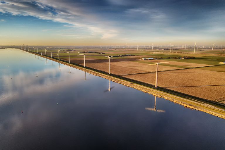 Windmills in the polder of Flevoland
