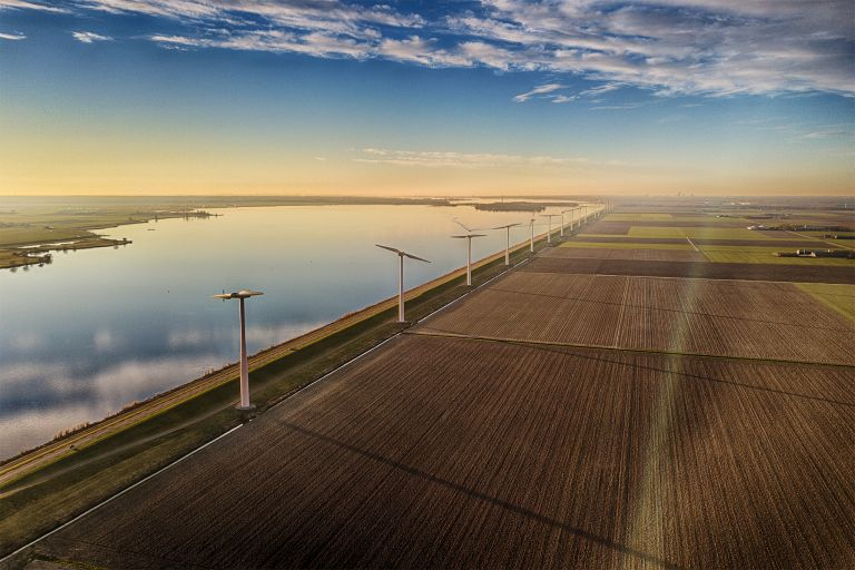 Fields, windmill and lake Eemmeer from my drone