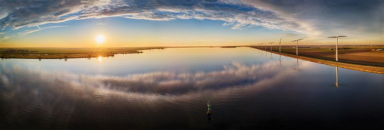 Drone panorama of lake Eemmeer