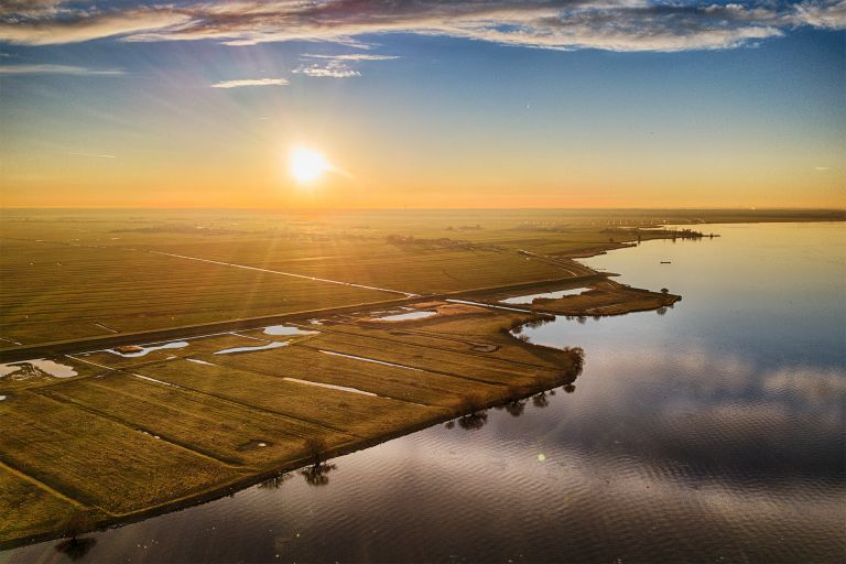 Sunset drone picture over lake Eemmeer