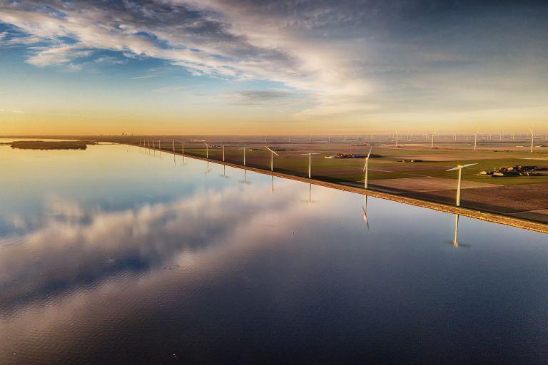 Drone picture of the windmills on Eemmeerdijk