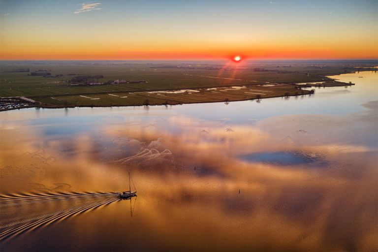 Drone sunset over lake Eemmeer