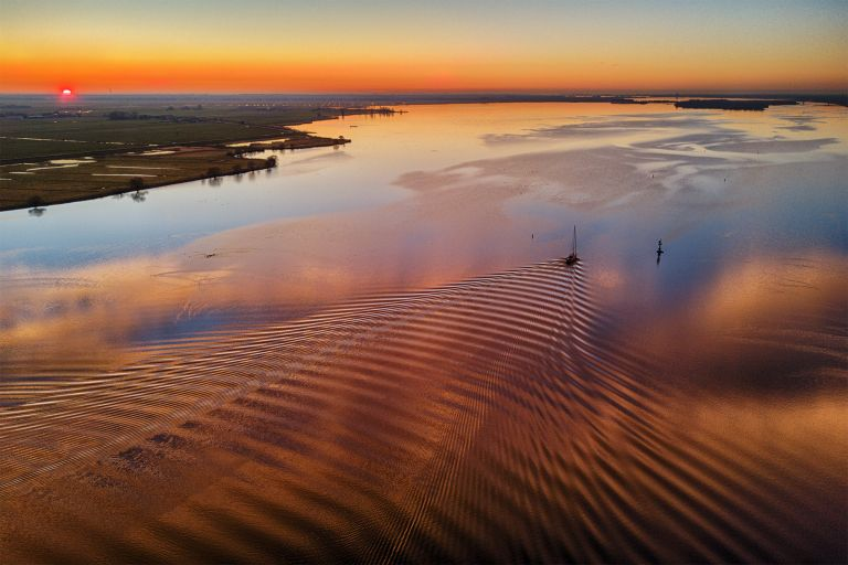Sunset drone picture of lake Eemmeer