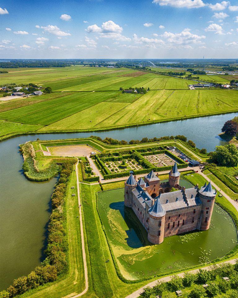 Muiderslot castle by drone