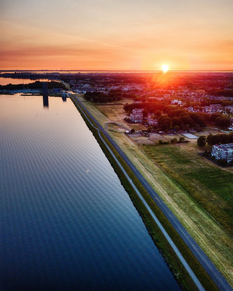 Gooimeerdijk from my drone during sunset