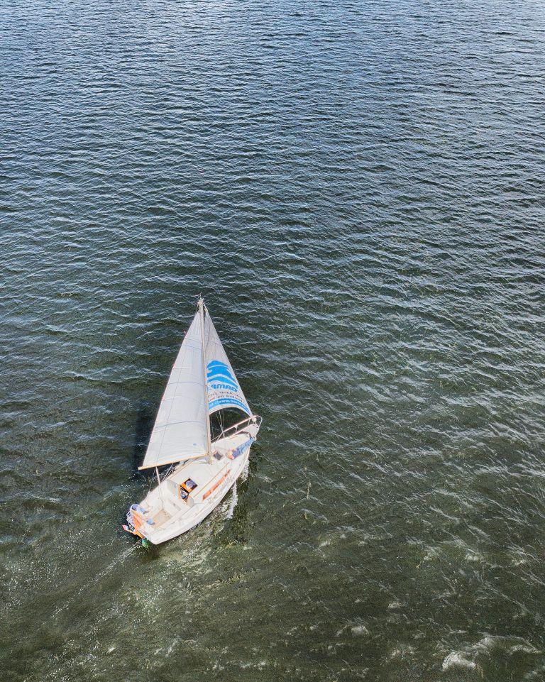 Sailing boat on lake Gooimeer