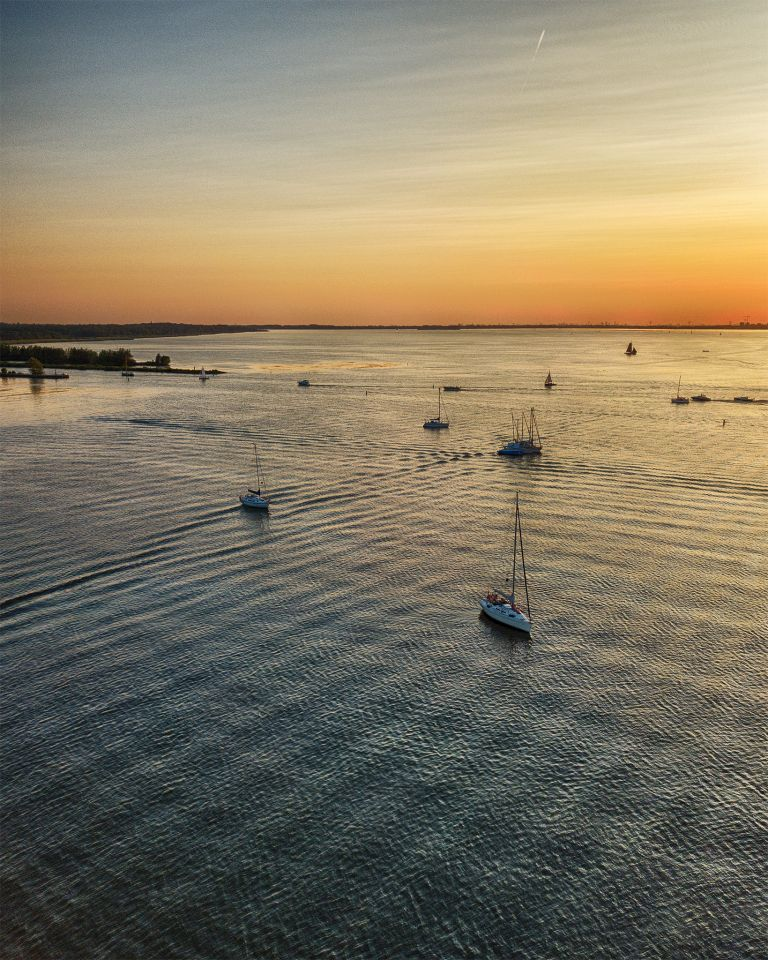 Warm sunset at lake Gooimeer from my drone
