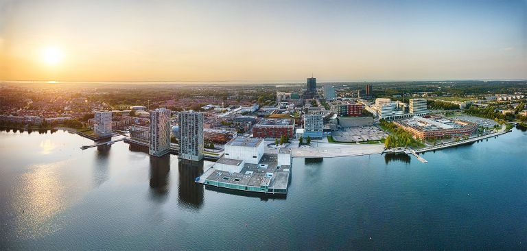 Almere city centre panorama by drone