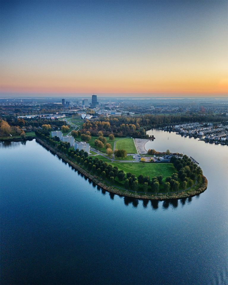 Lake Noorderplassen during sunset
