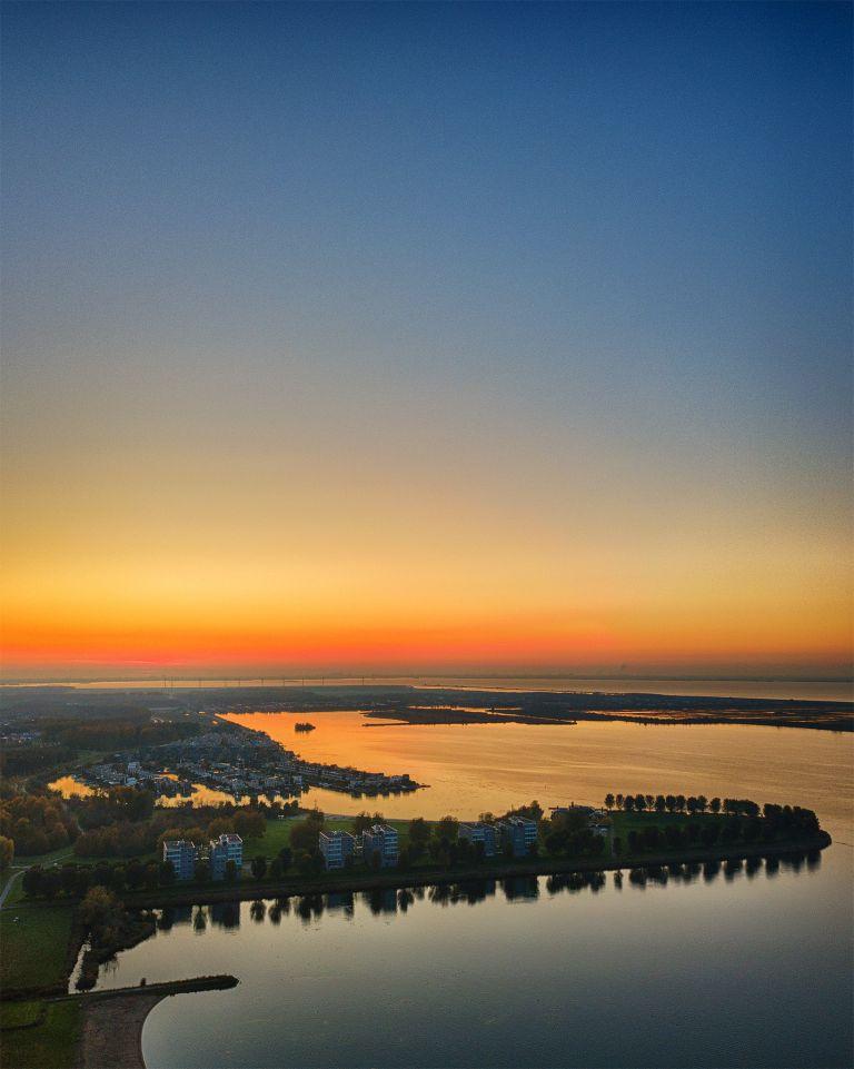 Lake Noorderplassen during sunset