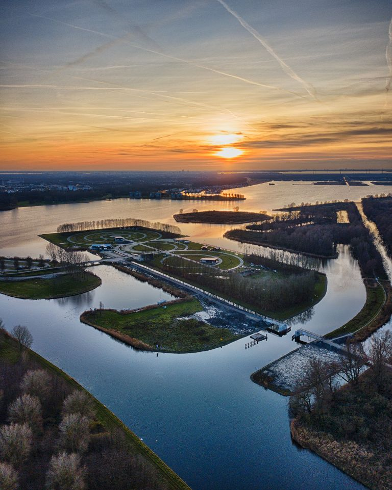 Sunset drone picture of lake Noorderplassen