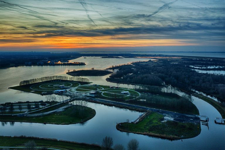 Sunset drone picture of camping Waterhout