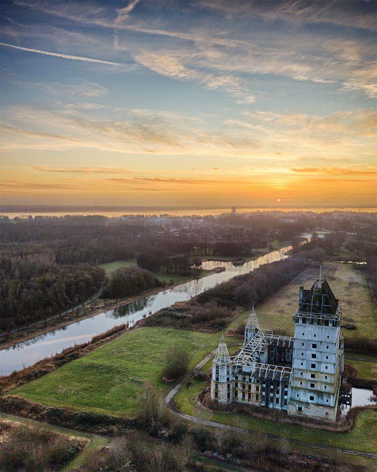 Sunset drone picture of Almere Castle