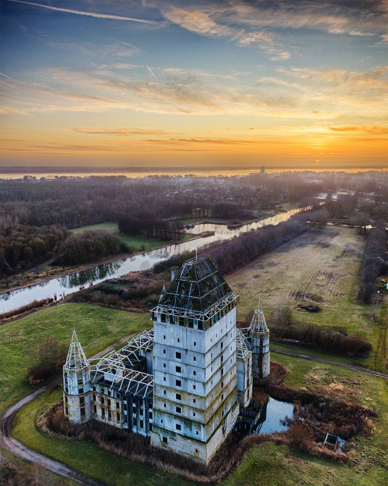 Sunset drone picture of Almere Castle