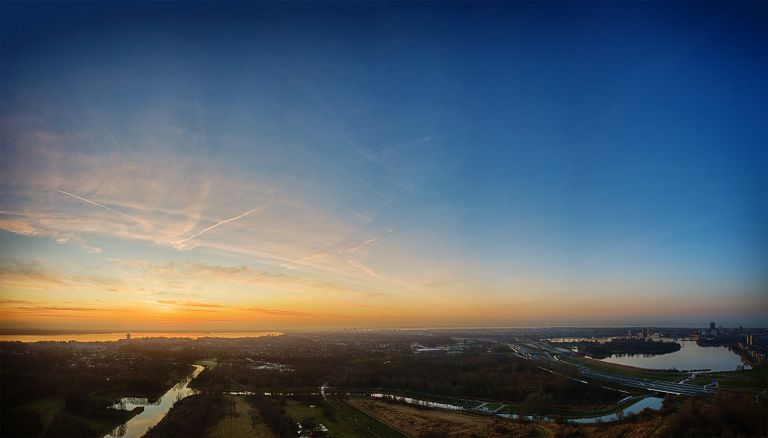 Sunset drone panorama near Almere Castle
