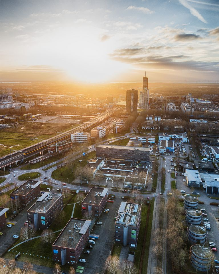 Drone sunset of Almere-Stad city centre