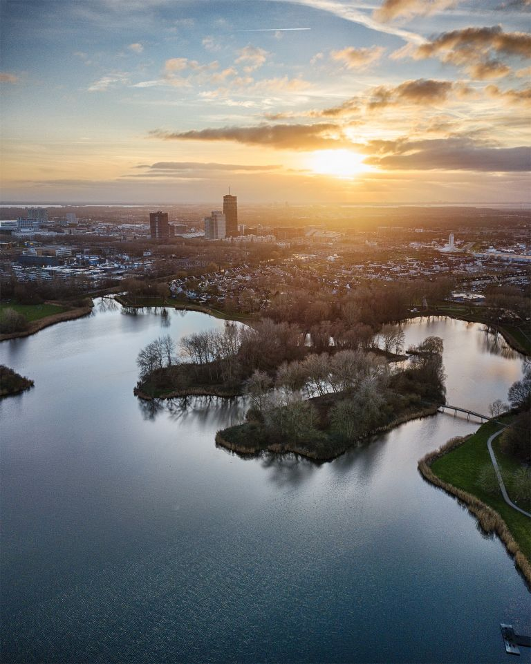Drone sunset from lake Leeghwaterplas