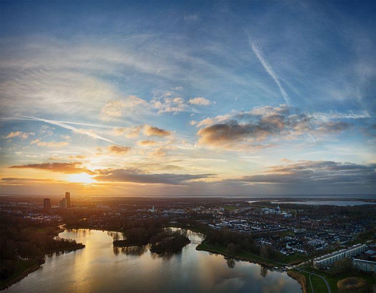 Drone sunset from lake Leeghwaterplas