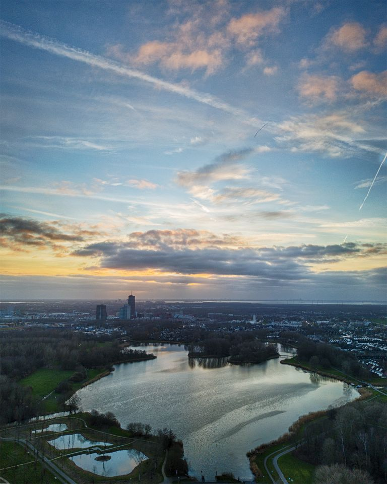 Drone sunset over lake Leeghwaterplas