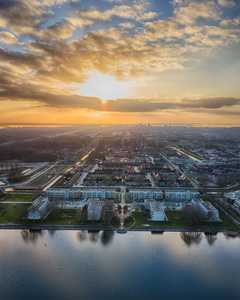 Stedenwijk in Almere by drone during sunset