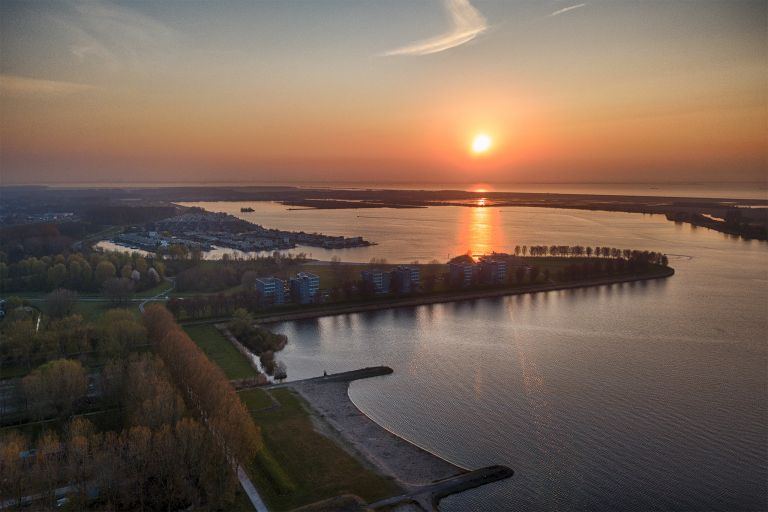 Sunset over lake Noorderplassen
