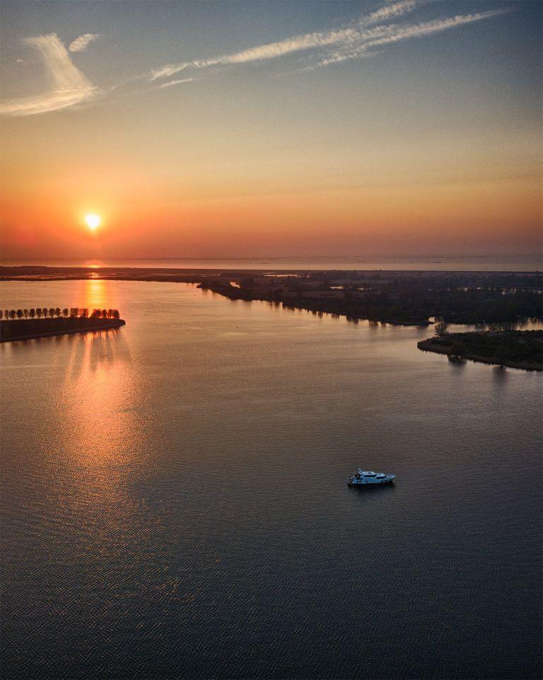 Sunset over lake Noorderplassen