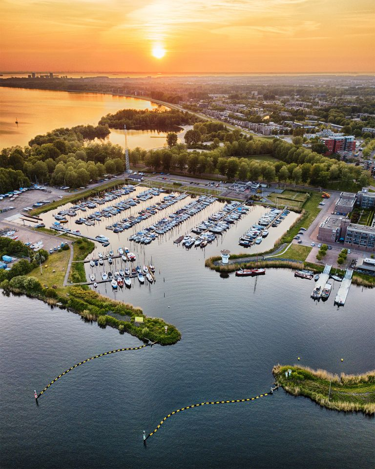 Almere-Haven marina from my drone during sunset