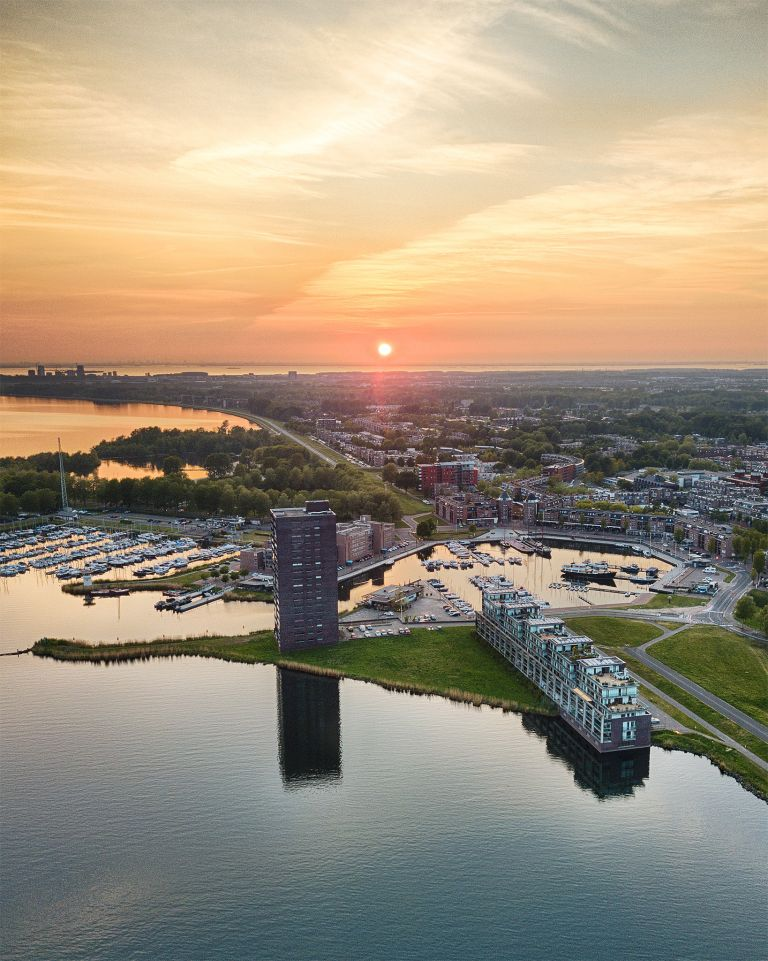 Drone sunset over lake Gooimeer