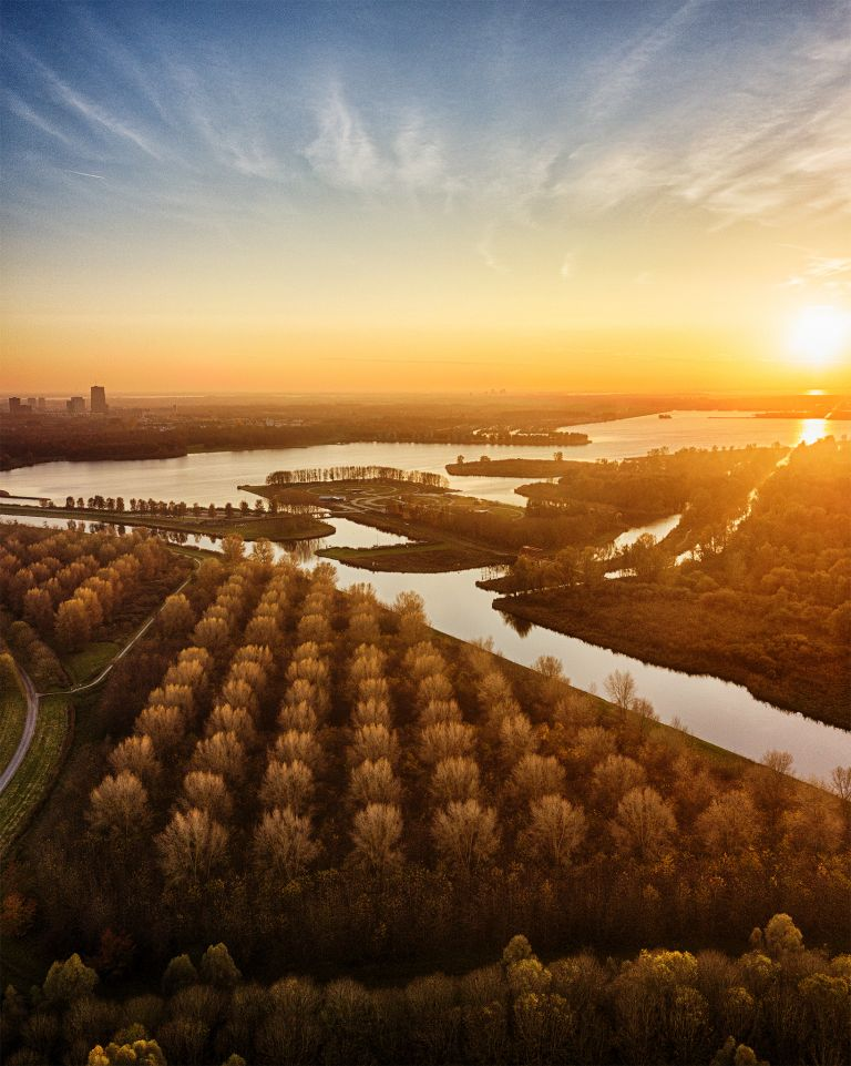 Autumn drone sunset over lake Noorderplassen