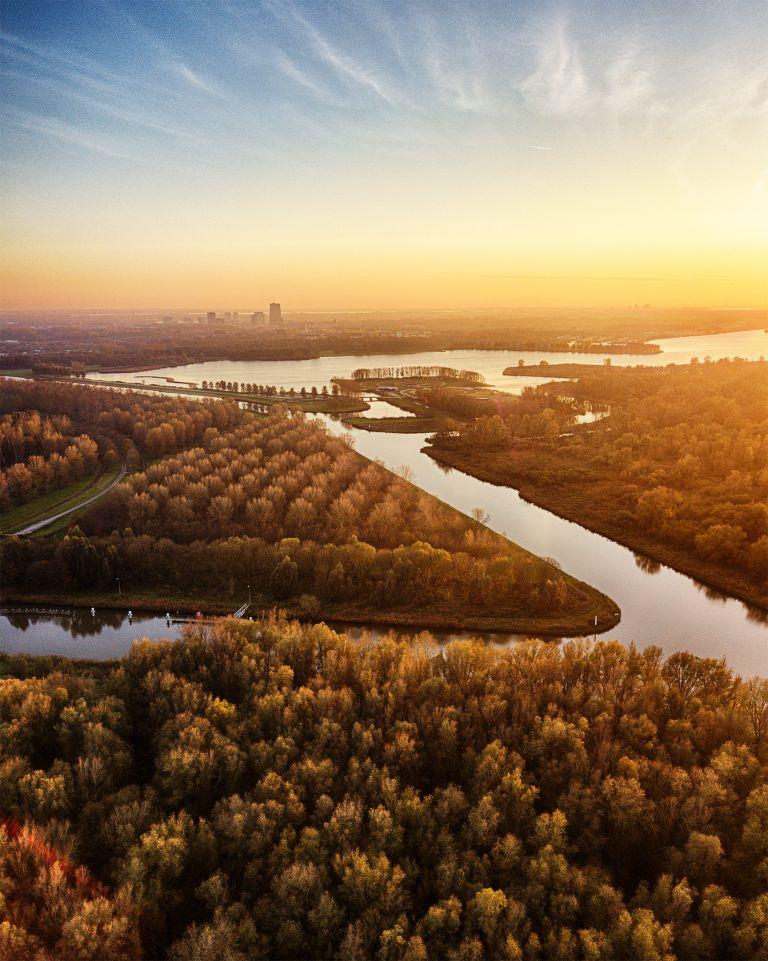 Autumn drone sunset over lake Noorderplassen