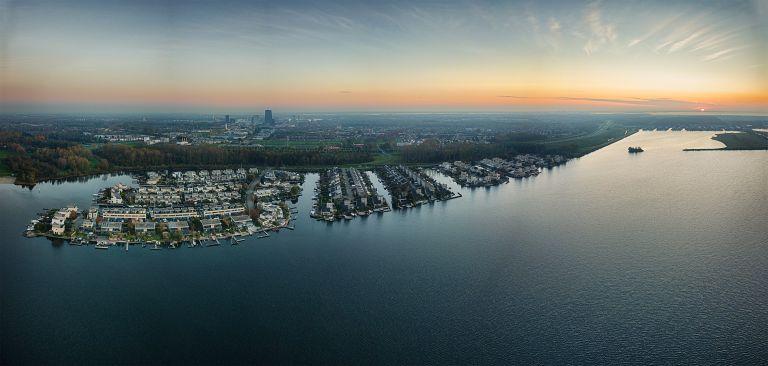 Drone panorama of the Noorderplassen neighbourhood during sunset