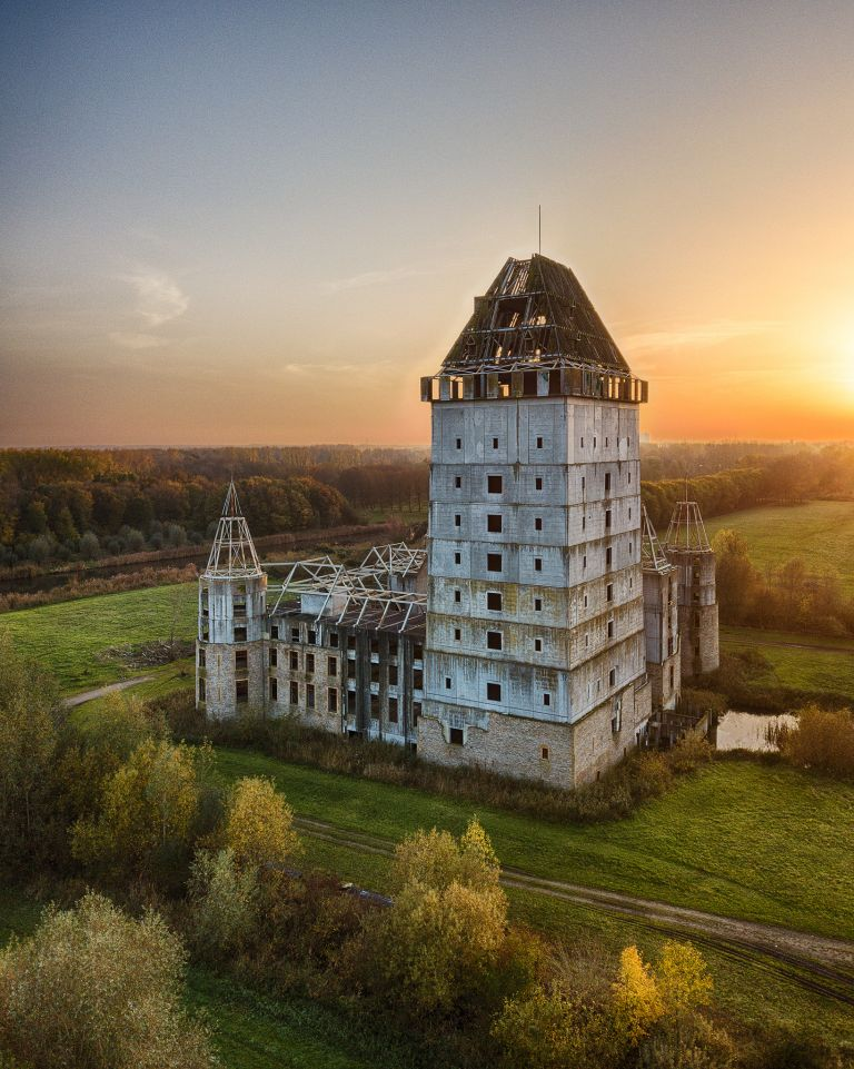 Drone sunset over Almere Castle