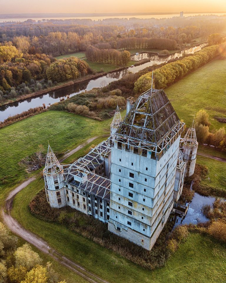Drone sunset over Almere Castle