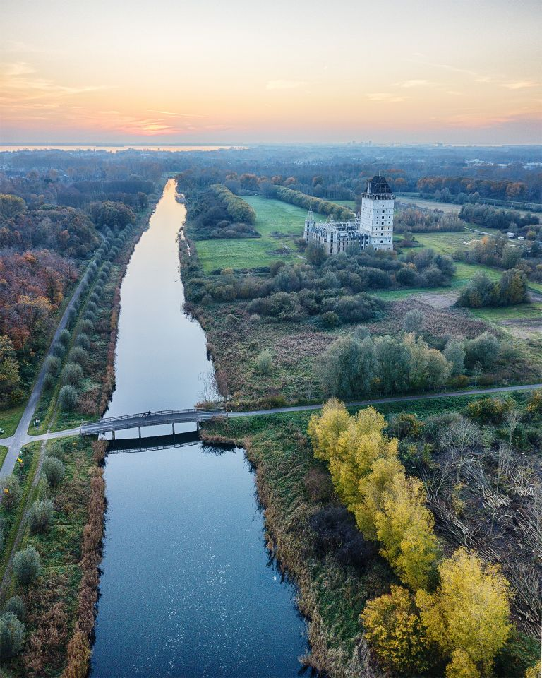 Autumn drone sunset over Almere Castle
