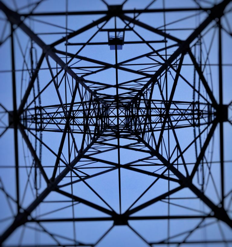 Looking up at powerlines