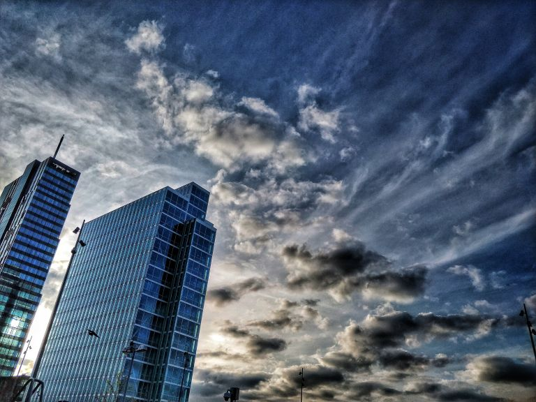 Evening architecture in Almere