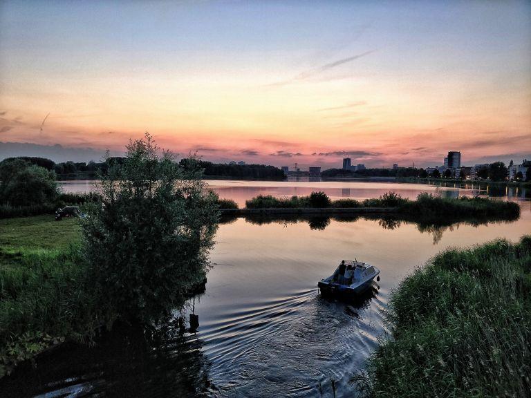 Sunset over lake Weerwater